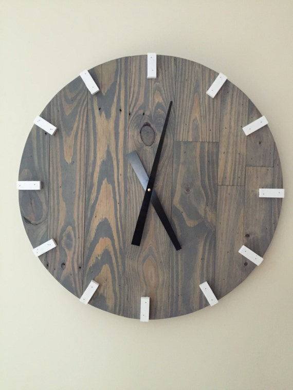 Large Gray Modern Wood Clock, Pallet Wood Clock, Reclaimed Wood Clock, Large Wall Clock, Unique Wall Clock