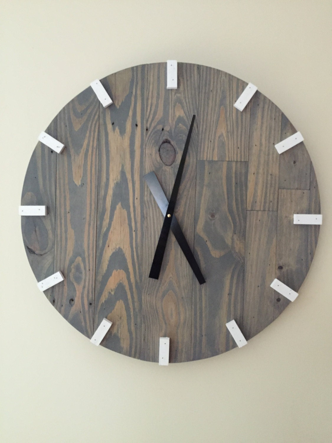 Large gray modern wood clock pallet wood clock reclaimed - Oversized modern wall clock ...