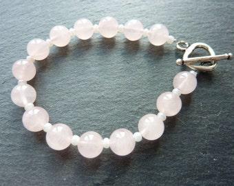 Rose Quartz Bracelet.  Pretty Pink Rose Quartz Semi Precious Gemstone and Czech Glass Beaded Bracelet.  Handmade Jewellery for Women.