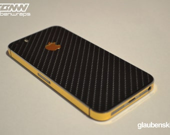 iphone 5 carbon fiber with gold skin