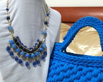 Blue agate necklace crystals