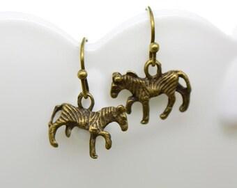 Zebra Earrings, Antique Bronze Finish, Vintage Style Charm Pendant Earring, Dainty Jewelry (AW011)