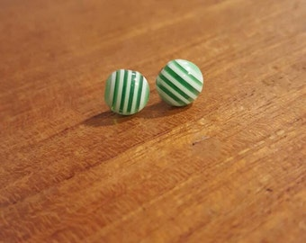Handmade Green and White Stripe Earrings on Surgical Steel Posts