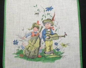 Cotton Children's Hankie Making Music Handkerchief Kids Napkin