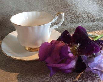 Royal Albert cup & saucer Val d'Or pattern white bone china with gold accent