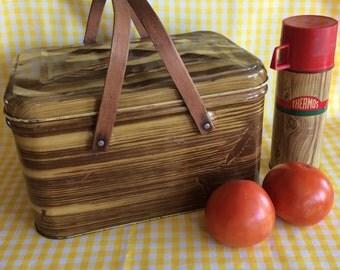 Vintage picnic basket lunchbox metal tin wood imitation pattern kitchen display or storage