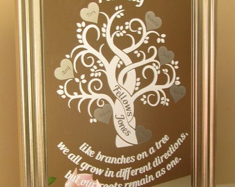 Silver Family Tree Mirror with Quote