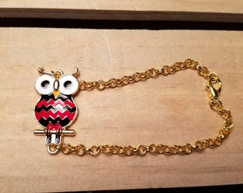 Mr. Owl red and black Chevron print