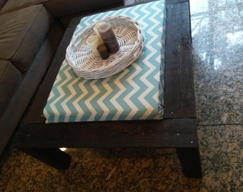 Wood Coffee Table with an Ottoman base (Chevron Print)