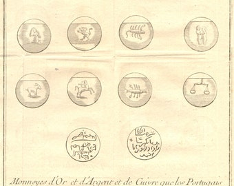 1752 ORIGINAL copperplate engraving of coins displaying the 12 signs of the Zodiac from Abbé Prévost's 'Histoire Générale des Voyages'