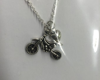 Dirt Bike with Heart Charm Necklace - Motorcross