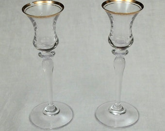Pair of Glass Candlesticks w/ Gold Rim