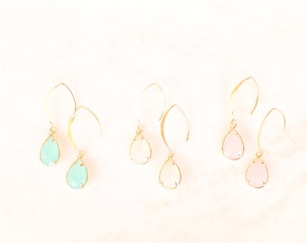 Vermeil gold earrings with crystal charm