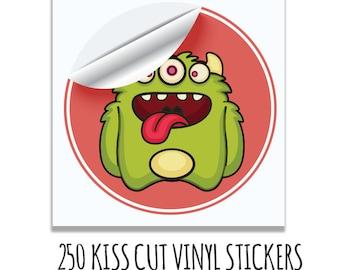 250 Custom Stickers- Kiss Cut Square Vinyl Stickers- Waterproof