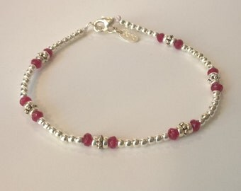 """925 silver bracelet and """"Ruby Red"""" agate gift for her, birthday, mother's day, Valentine's day, Christmas, all circumstances"""