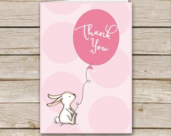 Pink Bunny Baby Shower Thank You Card - Printable Download - Pink Girl Baby Shower Thank You Card