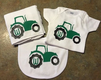 Tractor baby set onesie, bib, & burp cloth
