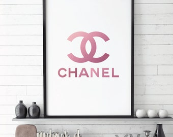 Chanel Logo, Chanel,  Fashion Logo,  Coco Chanel, Chanel Logo Printable, Fashion Icon, Pink, Glitter, Printables