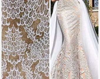 Elegent wedding dress fabric embroidery lace fashion fabric guipure bridal lace fabric