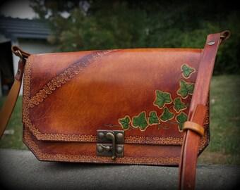Model large leather handbag