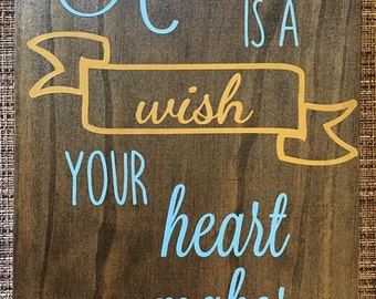 """Cinderella """"A Dream is a Wish"""" Wooden Sign"""