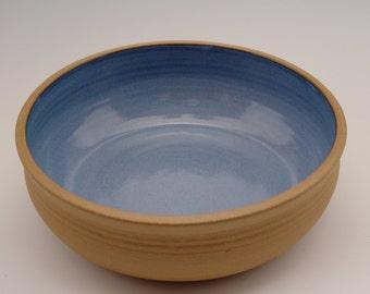 Ceramic Mixing Bowl (10 inch) --  Ceramic Serving Bowl -- Blue Stoneware Bowl -- Salad Bowl