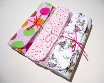 Baby girl burp cloths-Terry burp cloths girl-Flannel burp cloths for girl- Baby burp cloths set of 3-Burp cloths baby shower gift