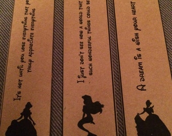Disney Princess Bookmarks.  Set of 3. Great Gift/Party Bag/Wedding Favour