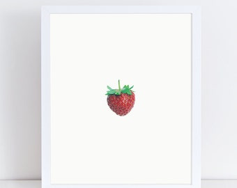 Strawberry Print, Strawberry Art, Strawberry Kitchen, Fruit Print, Fruit Photography, Fruit and Vegetable Prints, Kitchen Wall Decor, Gift.