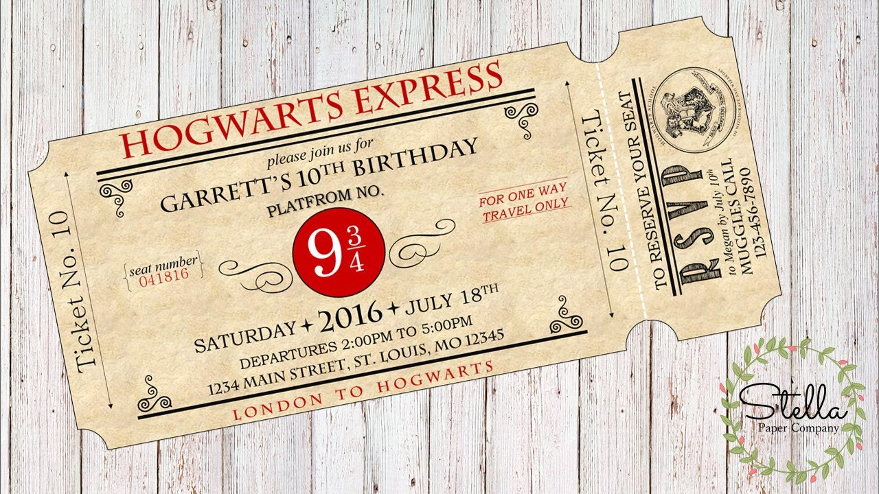 Ridiculous image inside hogwarts express ticket printable