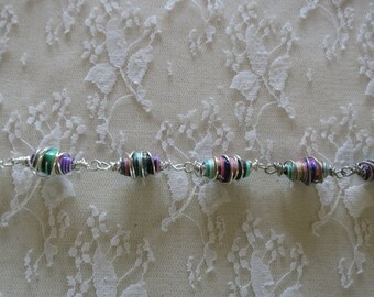Wire Wrapped Bracelet Multi Colored Upcycled Beads