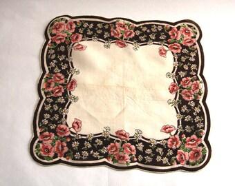 Pink & Brown Poppy Handkerchief
