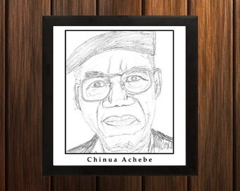 Chinua Achebe - Sketch Print - 8.5x9 inches - Black and White - Pen Caricature