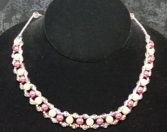 Pink and Mauve Pearl Necklace