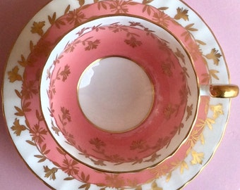 Pretty in Pink Aynsley Pedestal Teacup and Saucer