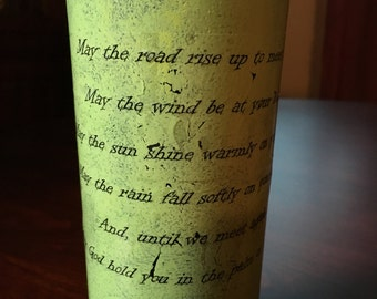 Wine Bottle May The Road Rise To Meet You Irish Blessing Wedding Center Piece