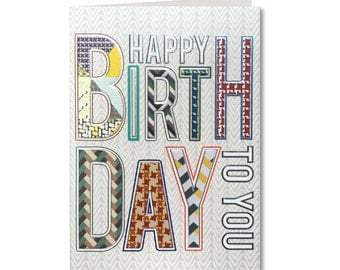 Geo - Happy Birthday - Birthday Card - Men's Birthday Card -  Male Birthday - Contemporary- Text