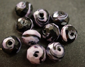 1 FACETED purple and black glass BEAD