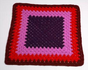 Handmade Baby Blanket, Crocheted Red/Purple/Pink