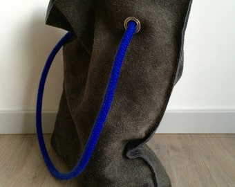 Handmade suede leather shopper