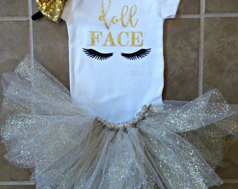 Gold Glitter Tutu ONLY, Birthday Tutu, Baby Girl Tutu