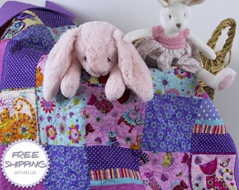 Patchwork Cot  Quilt 'Cool for Purple Cats' // Baby Quilt // Baby Gift // Baby Shower // Christening Gift