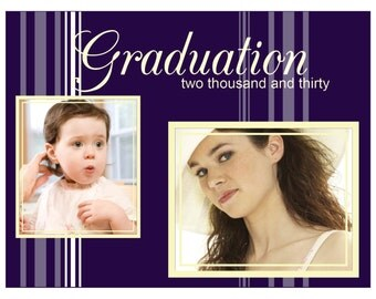 Purple Stripes Graduation Invitation Announcement
