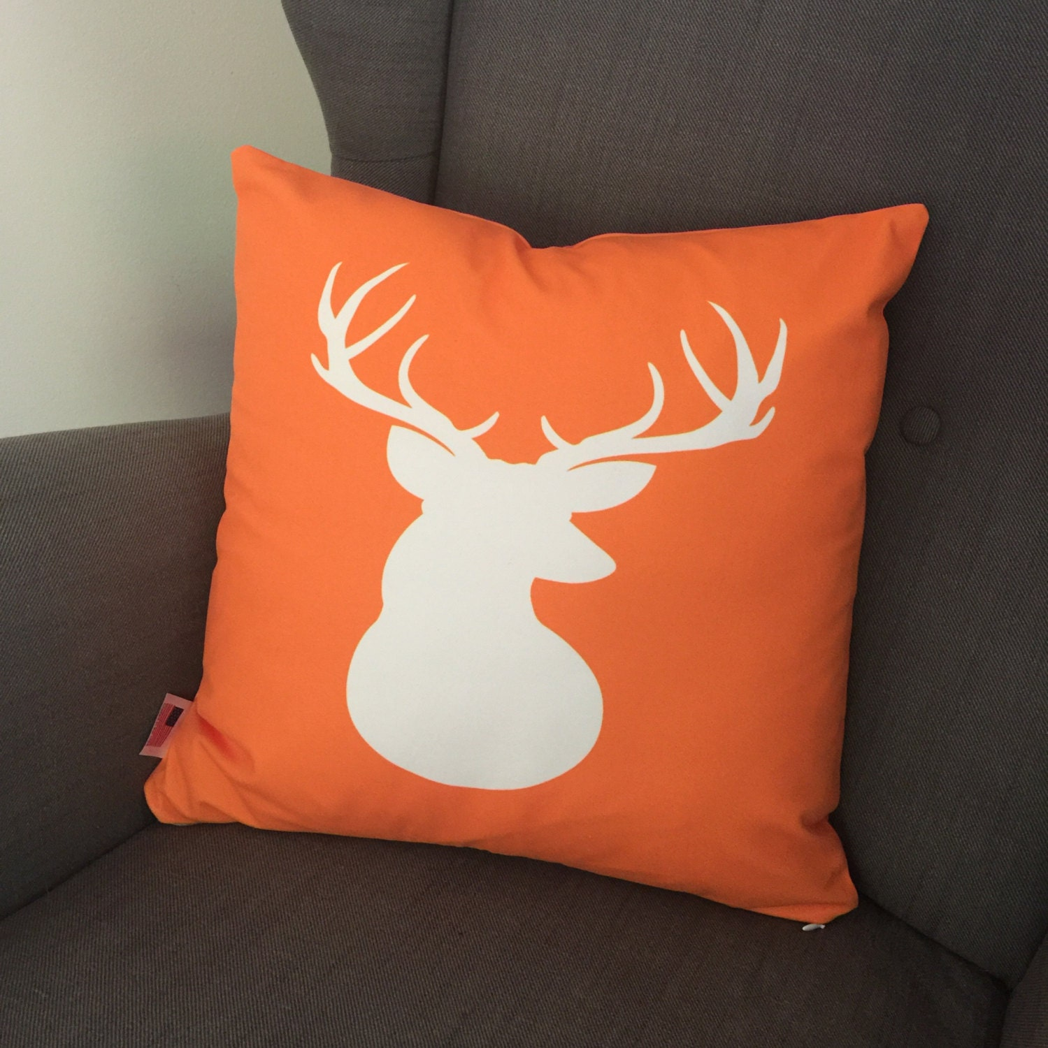 Antlers Orange & White Deer Throw Pillow Cover Personalized