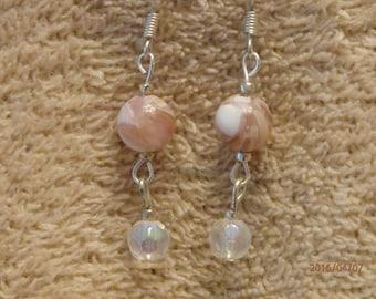 Earrings, pink quartz glass beads