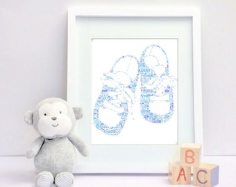 Baby boy booties - Framed personalised print