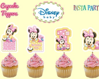 Baby Minnie Mouse 1st Birthday Cupcake Toppers,1st Birthday Cake