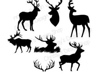 Elk and Deer Bundle SVG Studio3 EPS download / Cut and print Elk and Deer Silhouette download