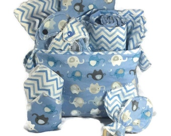 Baby Shower Gift Basket, 9 Piece Set, Baby Accessories, Baby Blanket, Burp Cloths, Baby Bibs, Elephant Blanket, Diaper Caddy, Baby Gift