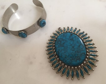 Vintage Faux Turquoise Costume Jewelry Pendant and Bracelet Set from 1970's